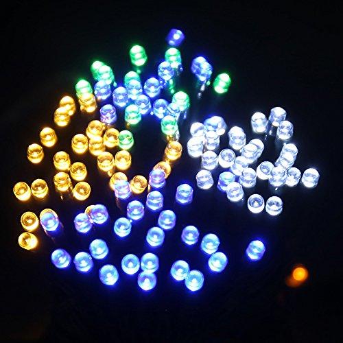 ZXYWW LED Lichterketten, 200 LED 65Ft / 20M Solarbetrieben, Geeignet Für Outdoor, Haus, Rasen, Garten, Hochzeit, Terrasse, Party und Urlaub Dekorationen (Mehrfarbig),20M (Ge-licht-schalter)