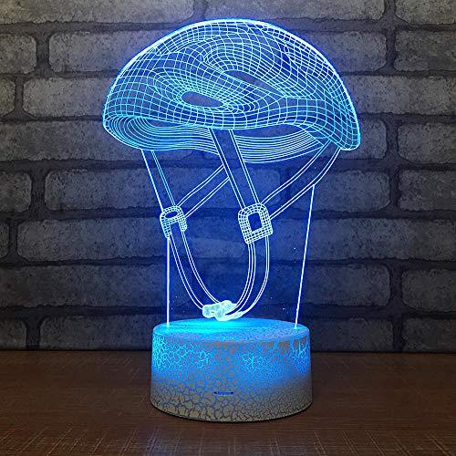 3D Nachtlicht Stimmung Lampe Illusion Lampe Kinder Lampe 7 Farbe optische Lampe LED Lampe Tischlampe Nachttischlampe, Weihnachtsgeschenk Hauptdekoration(Schutzhelm)