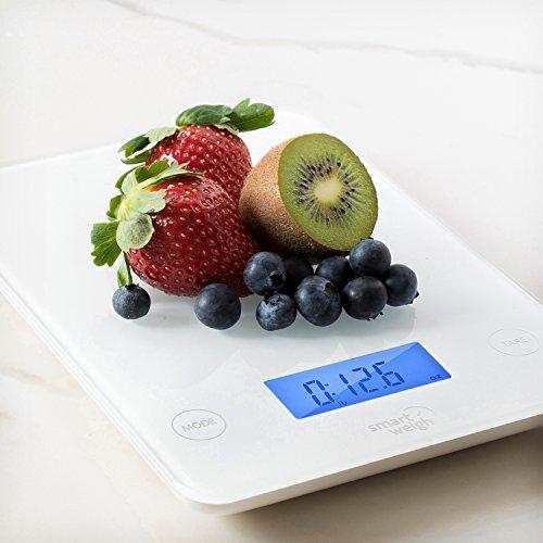 Smart Weigh GLS20 Digital superior de cristal Cocina y Escala del alimento   audibles botones táctiles   Modos de 5 unidades   Liquid Tecnología Medición  Profesional de diseño  Blanco