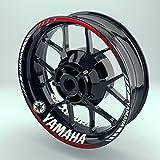 Felgenrandaufkleber Motorrad Komplett-Set (17 Zoll) - Felgenaufkleber Yamaha (Rot - matt)