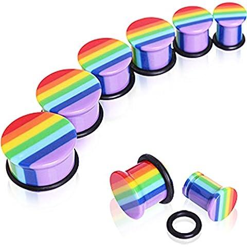 14mm arc-en-Gay Pride UV Acrylique Flare Simple avec 0 Anneau de selle Plug-oreilles Élargisseur