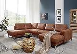 MASSIVMOEBEL24.DE Wohnlandschaft 300x200x147 Cognac London