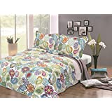 Furnishnk Henna Design Quilted Bedspread Throw for King/Double/Super King Bed, Microfibre, Green, 3-Piece