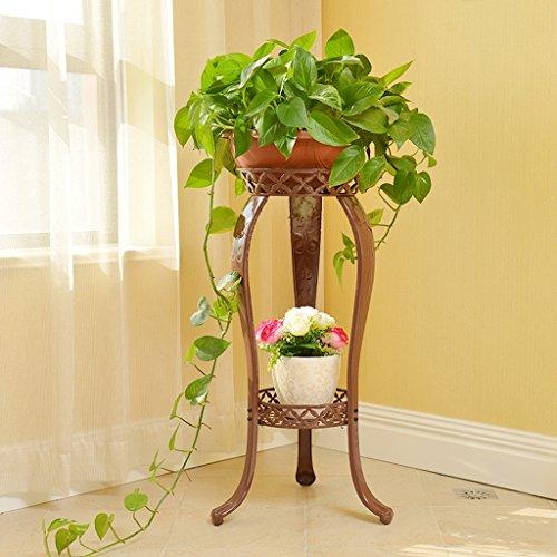Yu Chuang Xin Art de fer forgé de style européen Fer à repasser double palissandre vert palissandre salon balcon étage fleur étage cadre fleur étage étagère noir brun blanc (Couleur : Marron)