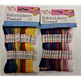 Sewing Box Embroidery Thread - 24 Skeins Assorted Colours