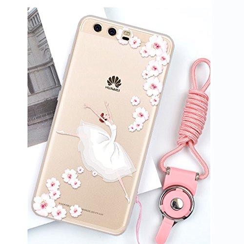 Huawei P10 Plus Coque Doux TPU Gel Silicone Etui Mignon Mode Bande Dessinée 3D Silicone Case Motif Cactus Case pour Huawei P10 Plus, Vandot [Exact Fit] Cactus Pattern Cover Coque pour Huawei P10 Plus  Robe-Blanc