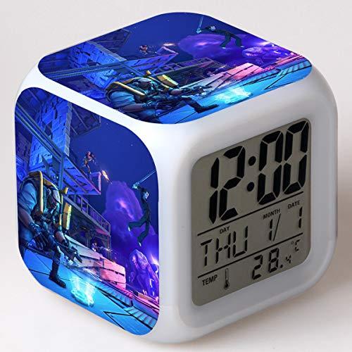 Niños LED Digital Anime Despertador 7 colores Luz de noche Habitación Despertador Viaje Despierta Despertador Fans de cine Despertador Regalo de cumpleaños para Muchachos Muchachas Adolescentes,7