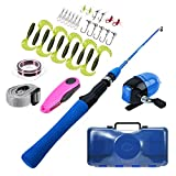 GWBNHH Canne a Peche Enfant Silure Surfcasting Spinning Truite, Fishing Rod Mini Ultra Court Carpe Télescopique Portable ABS Casting with Moulinet de pêche et Ensemble d'appâts, 1.2M,Blue