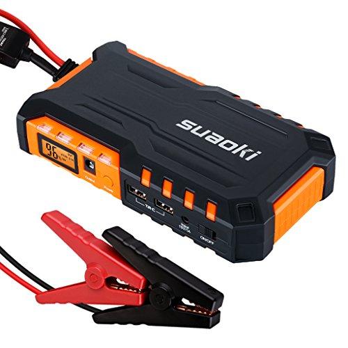 Suaoki G7 Auto Starthilfe 600 A Spitzenstrom 18000mAh Auto Batterie Ladegerät Tragbare USB Ladegerät Externer Akku/ Power Bank mit LED Taschenlampe für Laptop Smartphone Gravestone und vieles mehr (Schwarz/Orange)
