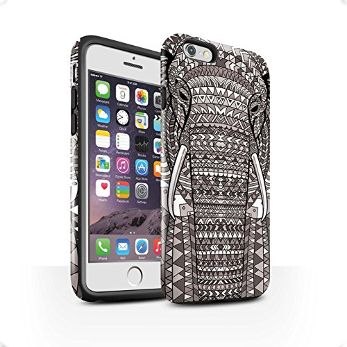 Coque Brillant Robuste Antichoc de STUFF4 / Coque pour Apple iPhone 5/5S / Singe-Couleur Design / Motif Animaux Aztec Collection éléphant-Mono