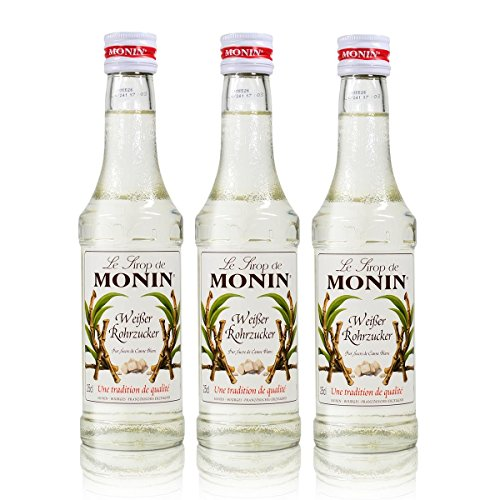 3x Monin Weißer Rohrzucker Sirup, 250 ml Flasche - für Cocktails, zum Kaffee oder Kochen