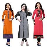 #7: Ramdev Women's Cotton Semi-Stitched Combo Of 3 Kurti (Multicolor_Free Size)