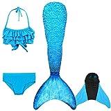 DECOOL Sirena Coda Costume, Scintillare Sirena Bikini Costume da Bagno con Monopinna per Bambini e Adulti,Altezza 90-145 cm