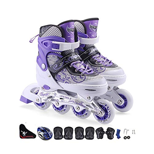HUIQIN Rollerskates Damen, Erwachsene Rollschuhe Inlineskater, Geeignet Für Herren, Herren, Lila Weiß (Size : EU 35-EU 38)