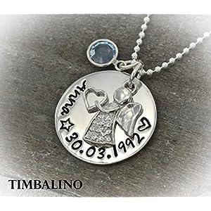 Namenskette Schutzengel Silber, Geburtsstein