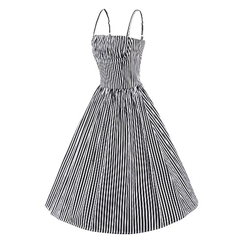 iLover Classy Vintage Stripe Strap Hepburn style 40s 50s 60s Balançoire Rockabilly Party Dress Soirée Noir