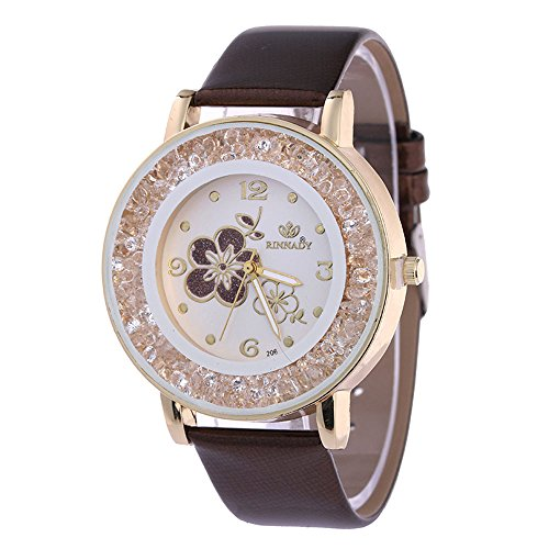 Damen Armbanduhr Paticess Lässige Strass Diamant Rosenmuster Uhr mit Lederband Armband Runde Damenuhr - Ebel Diamanten Damen Uhren