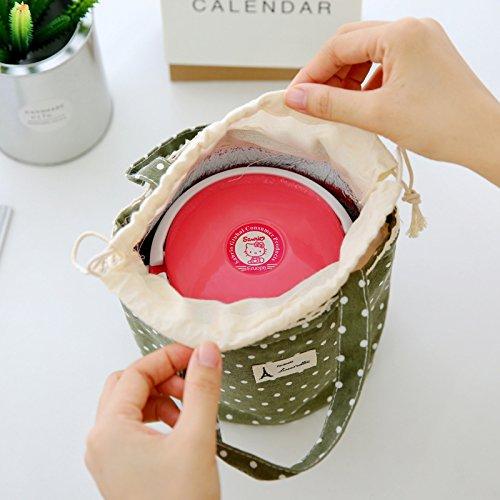 Mirayen il giro Lino di cotone Borsa Pranzo Termica Borse Frigo Borse da Picnic Borsa Pranzo Per il Picnic di Scuola d'ufficio per la Lunchbox(Rosa) marrone