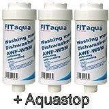 Fit aqua AC-WSM AM-SET-III 3 x Kalkfilter Spülmaschine Geschirrspüler Waschmaschine, 3 Stück