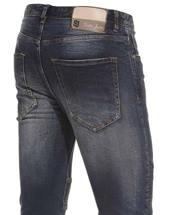 Sixth June - Jeans bleu délavé pour homme - Couleur : Bleu Taille : FR 46 US 36