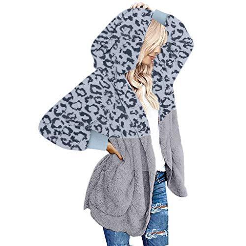 TEFIIR Weihnachtseinkäufe Damen Kapuzenpullover Getäfelter Hoodie mit Tasche Hoodies Pelzmantel Freizeitmantel Casual Outwear Winter Warm Tops