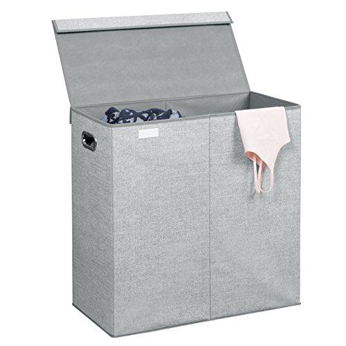 Interdesign aldo cesto portabiancheria, cesta con coperchio a 2 scomparti in polipropilene ideale per il bucato, grigio