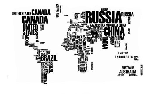 Misslight Mappa del muro mondo stickers nome inglese paese lettera parete mondo nero decalcomanie della parete mappa (ZY95AB)