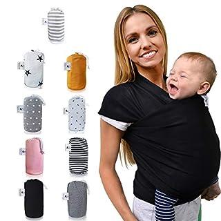 Fastique Kids® Tragetuch - elastisches Babytragetuch für Früh- und Neugeborene - inkl. Baby Wrap Carrier Anleitung - Farbe schwarz