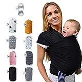 Fastique Kids Tragetuch - elastisches Babytragetuch für Früh- und Neugeborene - inkl. Baby Wrap Carrier Anleitung - Farbe schwarz
