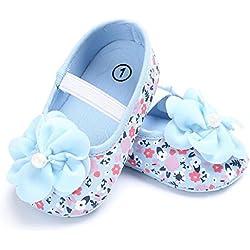 Culater® Neonata Del Bambino Fiore Stampato Scarpe Da Ginnastica Presepe (6 ~ 12 mesi, Blu)