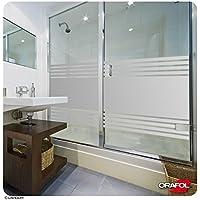 LAVICOM Sichtschutz - MADE IN GERMANY - Dusche Sauna Schwimmbad Duschkabine Bad Sichtschutzfolie Streifendesign Glasdekorfolie