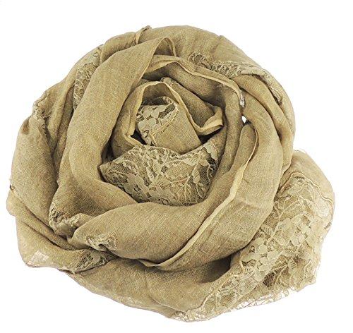 Puro Lino Sciarpa da donna con motivo floreale astratto, pannelli e bordi, pulito logoro cachi Taglia unica