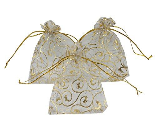 Tasche Wimper Print Hochzeit Favor Taschen 8,9x 11,4cm Kordelzug Beutel weiß ()