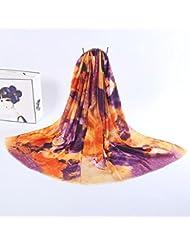 ZLL Bufanda de seda floral, impreso sol-chales, bufandas , 6