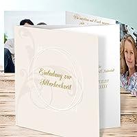 Silberhochzeit Einladungskarten Selbst Gestalten, Pastellblüte 15 Karten,  Doppelklappkarte 145x145 Inkl. Weißer Umschläge,