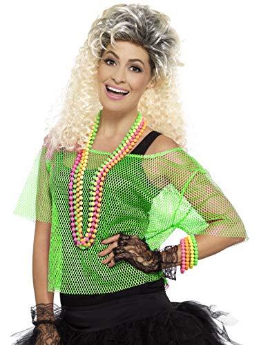 Luxuspiraten - Damen Frauen 80er Jaher Popstar Superstar Fishnet Shirt Top Kostüm, perfekt für Karneval, Fasching und Fastnacht, L/XL, Grün