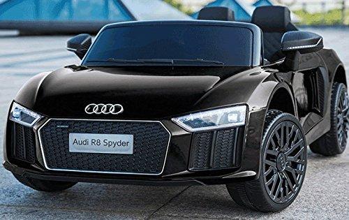 ES-TOYS Kinderfahrzeug - Elektro Auto Audi R8B - lizenziert - 6V4,5AH Akku und 2 Motoren- 2,4Ghz + MP3 + Leder + Eva (Schwarz)