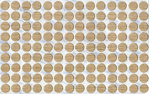 KwikCaps® PVC Ferrara Eiche Naturhell Selbstklebende Schrauben-Abdeckungen Abdeckkappen Nägel Cam flach [126 Stk. x 13 mm Durchmesser] - Eiche Nägel