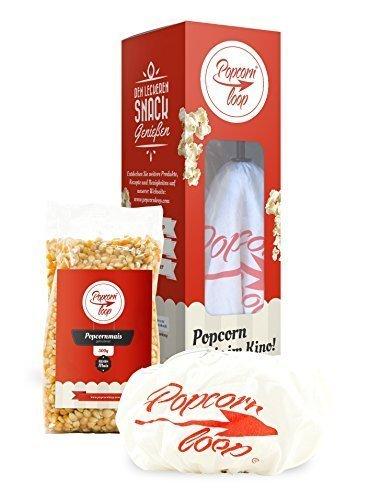 Popcornloop Heimkino-Set bestehend aus 1x Popcornloop Rührstab, 1x Ersatzhaube, 1x Premium Popcorn Mais 500g - Popcornzubereiter Popcorn Maker Popcornmaschine Weltneuheit - Zu Hause Popcorn Á lLa Kino Zubereiten