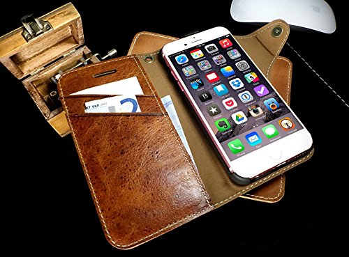 Original Akira Deluxe Edition Apple iPhone 6 / 6s ECHT LEDER Handyhülle [Hand Made] feines Rindsleder Schutzhülle Wallet Handytasche Luxus Edition mit Kartenfach Dunkel Braun Dunkel Braun