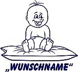 INDIGOS UG - Babystrampler / Strampler 025 mit Wunschname / Wunschtext schwarz 50/56