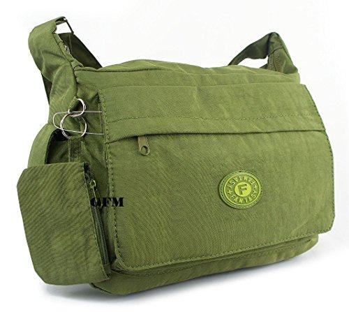 GFM borsa a tracolla multitasca con cerniera, in nylon leggero .Style 1 - Olive Green (GHJTN)