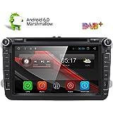 HIZPO® 2 Din Android Marshmallow Autoradio DVD Player Moniceiver mit GPS Navigation für VW Golf Polo Jetta Passat Unterstützt DAB+ Bluetooth WLAN 3G OBD2 8 Zoll Touchscreen (Android 6.0)