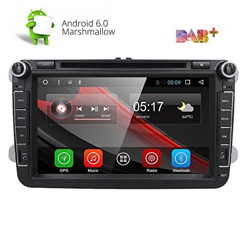 "8"" Reproductor Multimedia DVD 2 Din GPS Navegador Android 6.0 Quad Core con WIFI Bluetooth Control Volante para Coche Vehículo VW/Volkswagen/Passat/GOLF/Skoda/Seat (8 pulgadas)"