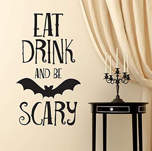 Essen Trinken Und Beängstigend Zitieren Abnehmbare Art Vinyl Wandhaupt Room Decor Wandaufkleber Halloween Dekorationen ()