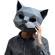 Homelex Máscara de papel 3D con forma de cabeza de animal, para Halloween, fiestas