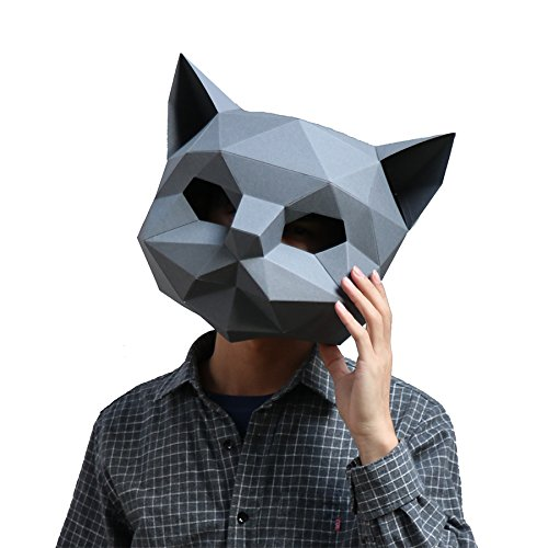 (Homelix 3D Papier Maske Tierkopf Formen DIY Halloween Party Kostüm Cosplay Gesichts Papier-Craft Kit (Katzen))