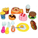 #9: Shanaya Toys 13 pieces Realistic Sliceable Fast Food Items like Pizza, Hot Dog, Burger, French Fries, etc with Velcro Pretend & Play Toy for Kids (Multicolor)