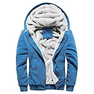 EUZeo Herren Kapuzenpullover mit Reißverschluss Langarm Kapuzenjacke Winter Warm Fleece-Innenseite Sweatshirt Plus Dicke Fleecejacke Sweatjacke Mit Kapuze
