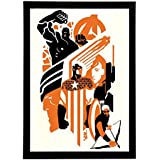 Interio Crafts The Avengers Wall Art Wooden Framed Poster for Room, 12X8 Inches(Black)